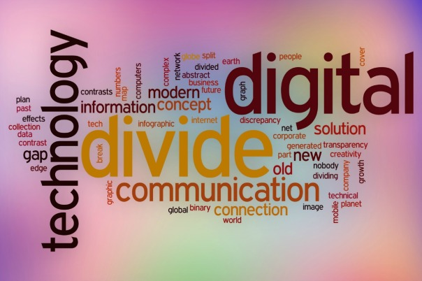Digital divide word cloud concept with abstract background